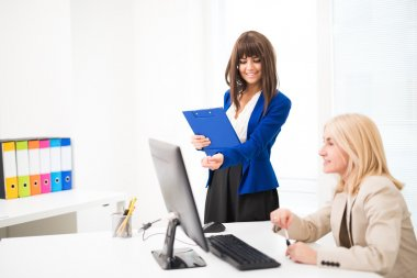 Smiling woman working together