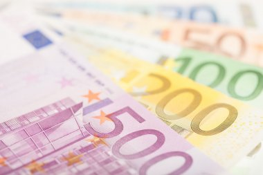 Close up of Euro banknotes