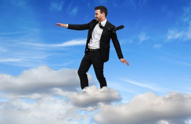 successful Businessman flying