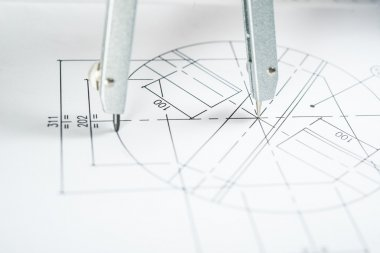 compass on a technical drawing