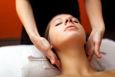Beautiful woman having a facial massage stock vector