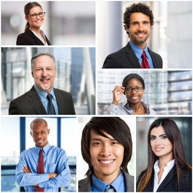 multiethnic businesspeople faces