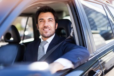 Portrait of an handsome smiling business man driving his car stock vector