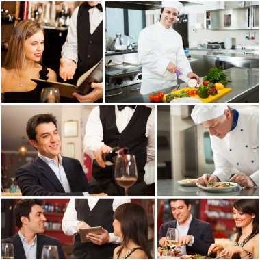 Chefs, waiters and customers in restaurant