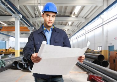 Engineer working in factory