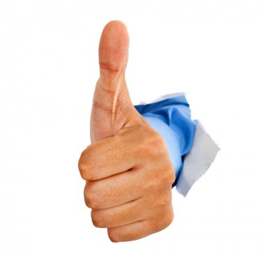 Hand giving thumbs up