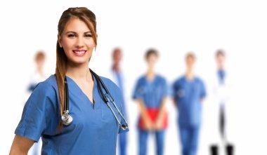 nurse in front of medical team