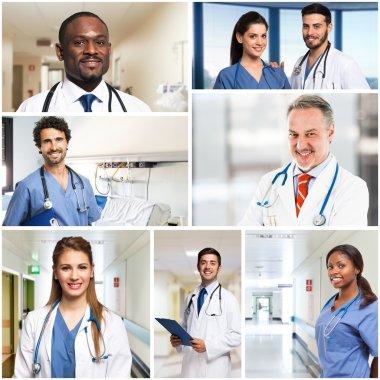 smiling doctors and nurses portraits