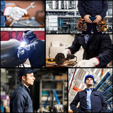 people at work in industrial facilities