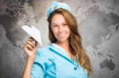 Fényképek papír sík gazdaság stewardess