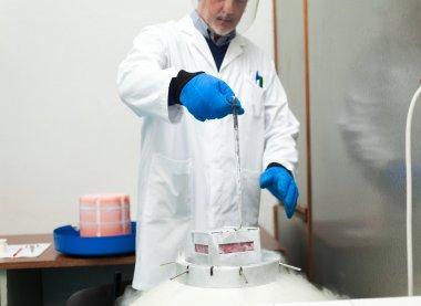 Scientist taking samples