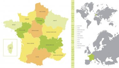 Detailed color vector map of 13 regions of France from 2016 with location on maps of the world and Europe icon