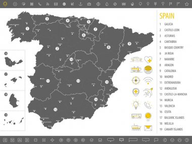 Detailed monochrome map of Spain, gray territory of the country with geographical borders and administrative divisions on white background, set of travel icons, vector illustration icon