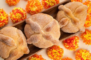 Sweet bread called (Pan de Muerto) enjoyed during Day of the Dead