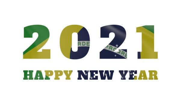 2021 Šťastný nový rok, Brazílie Nový rok vlajka animace 2021