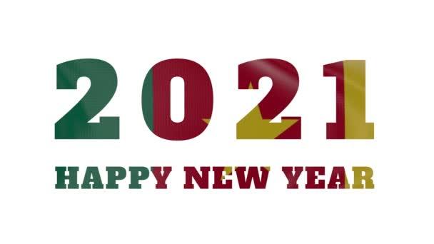 2021 Frohes Neues Jahr, Kamerun Neujahr Flaggenanimation 2021