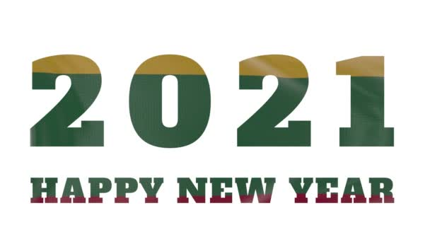 2021 Frohes Neues Jahr, Litauen Neujahr Flaggenanimation 2021