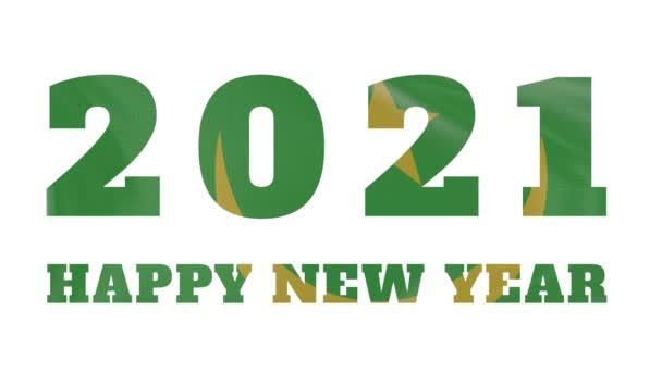2021 Frohes Neues Jahr, Mauretanien Neujahr Flaggenanimation 2021