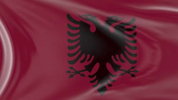Albania flag in slow motion animation waving in the wind realistic