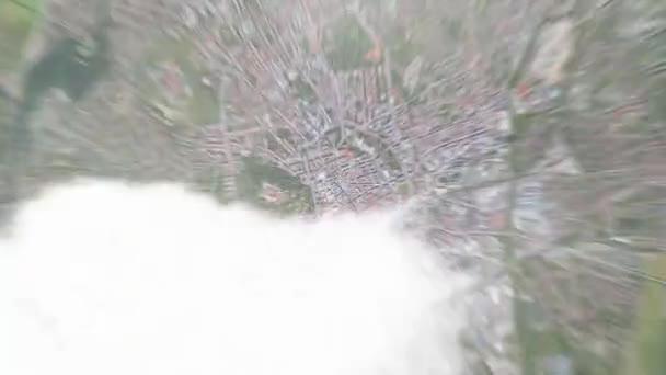 Přiblížit z vesmíru a zaměřit se na Brno Česká republika. 3D animace. Pozadí pro cestovní úvod.