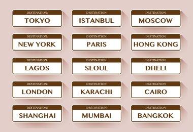 Destination cities stickers
