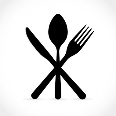 Crossed fork over knife and spoon