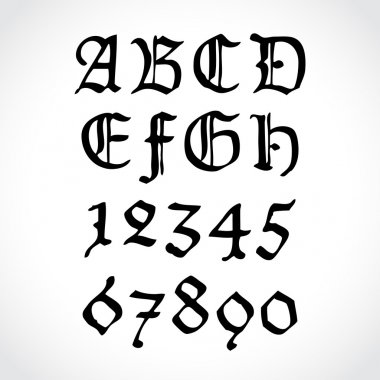 Old gothical handwritten numbers and letters