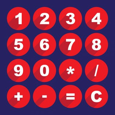 Simple calculator buttons in flat design clip art vector
