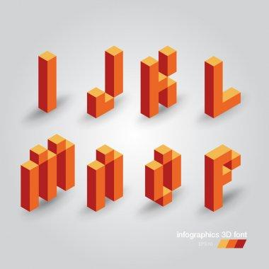 Set of 3d pixel letters