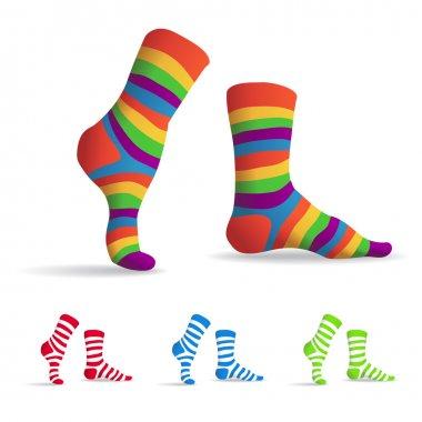 Set of striped multicolor socks