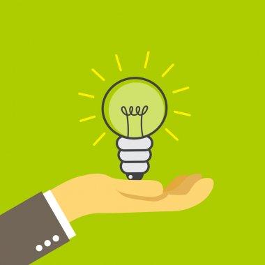 Lightbulb on human palm