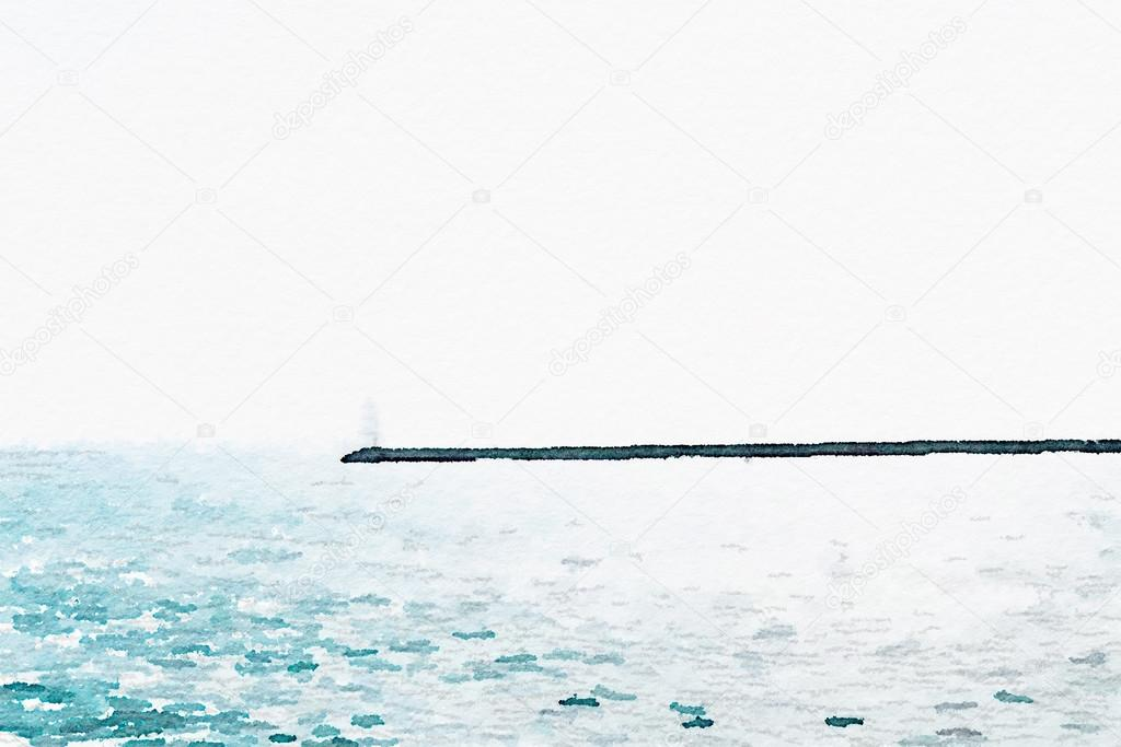 lighthouse and coastline in sea