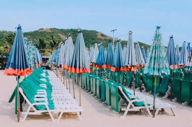 Row of chairs and umbrellas