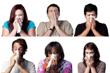 Sneezing people Six expressions people