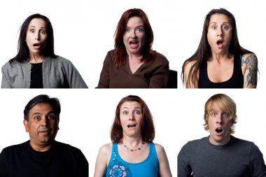 Group of shocked people