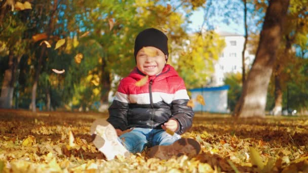 Kid playing with the golden leaves in autumn park. A boy throws a pile of leaves overhead and watches them fall.