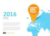 Nový rok ikonu na mapě světa. Vektorové pozadí