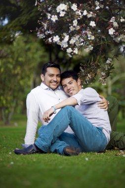 Beautiful gay couple relaxing