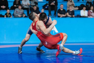 Novosibirsk, Russia  January  19, 2020 :   Russian Greco-Roman Wrestling Championship. Young men wrestling on a wrestling platform in the stadium
