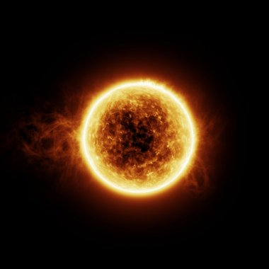 Burning sun with flares on a black background with room for text or copy space