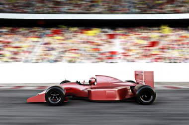 Motor sports red race car side view