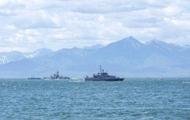 Russian military ship on Kamchatka