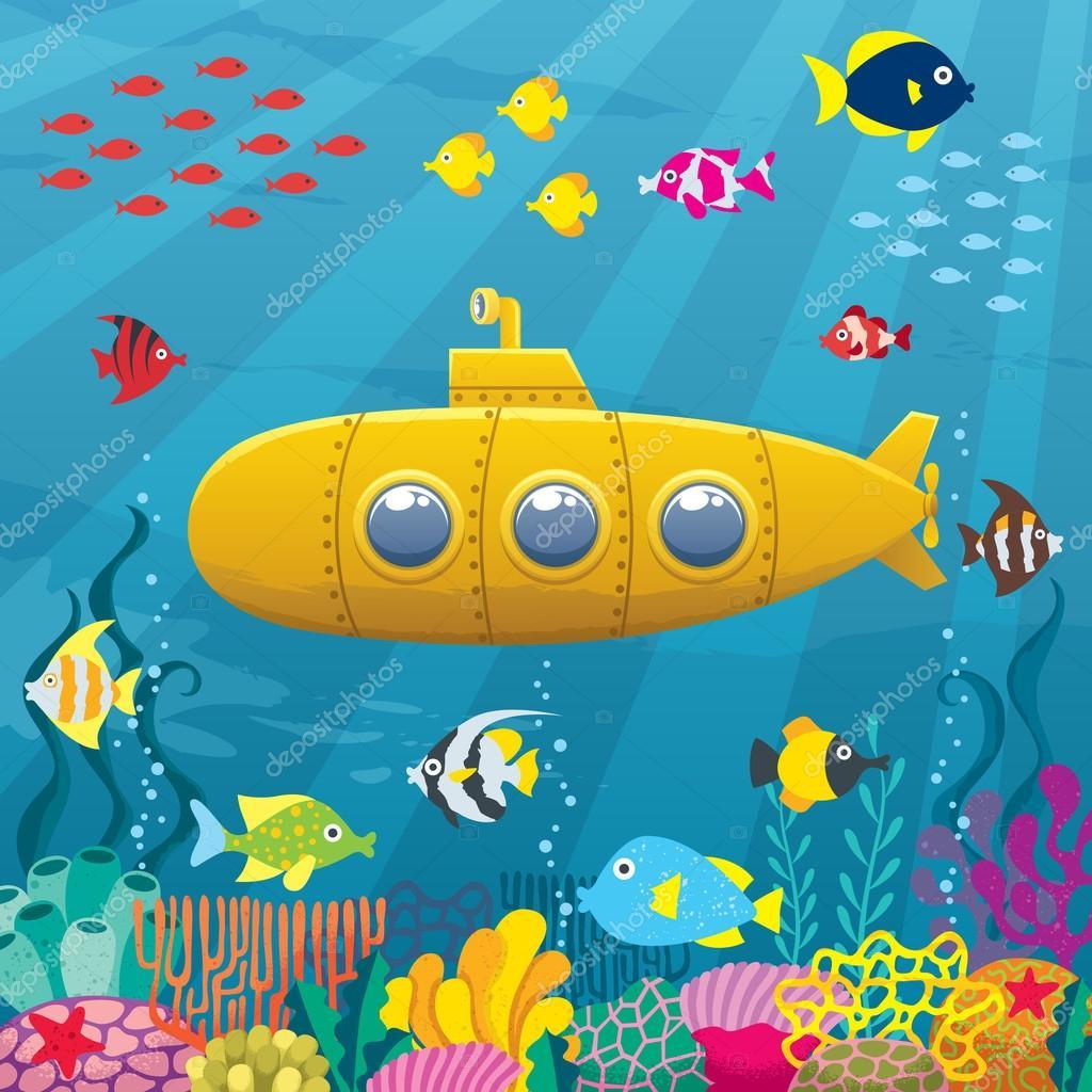 Cartoon Submarine Background