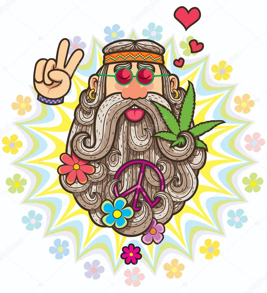 Retrato de caricatura del hippie archivo im genes vectoriales malchev 118770122 - Dessin peace and love ...