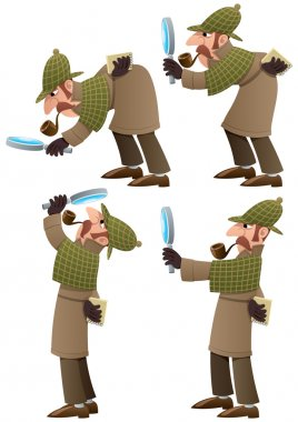 Set of 4 illustrations of cartoon detective. No transparency used. Basic (linear) gradients stock vector