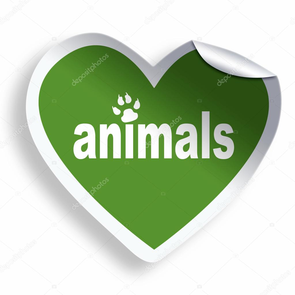 Green Heart Sticker With Animals Text And Paw Stock Photo Oko