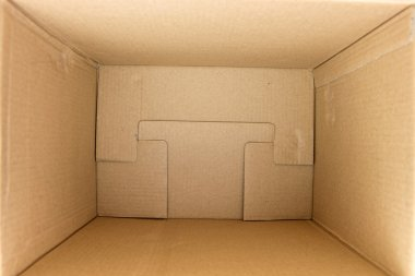 Inside of an empty square cardboard box