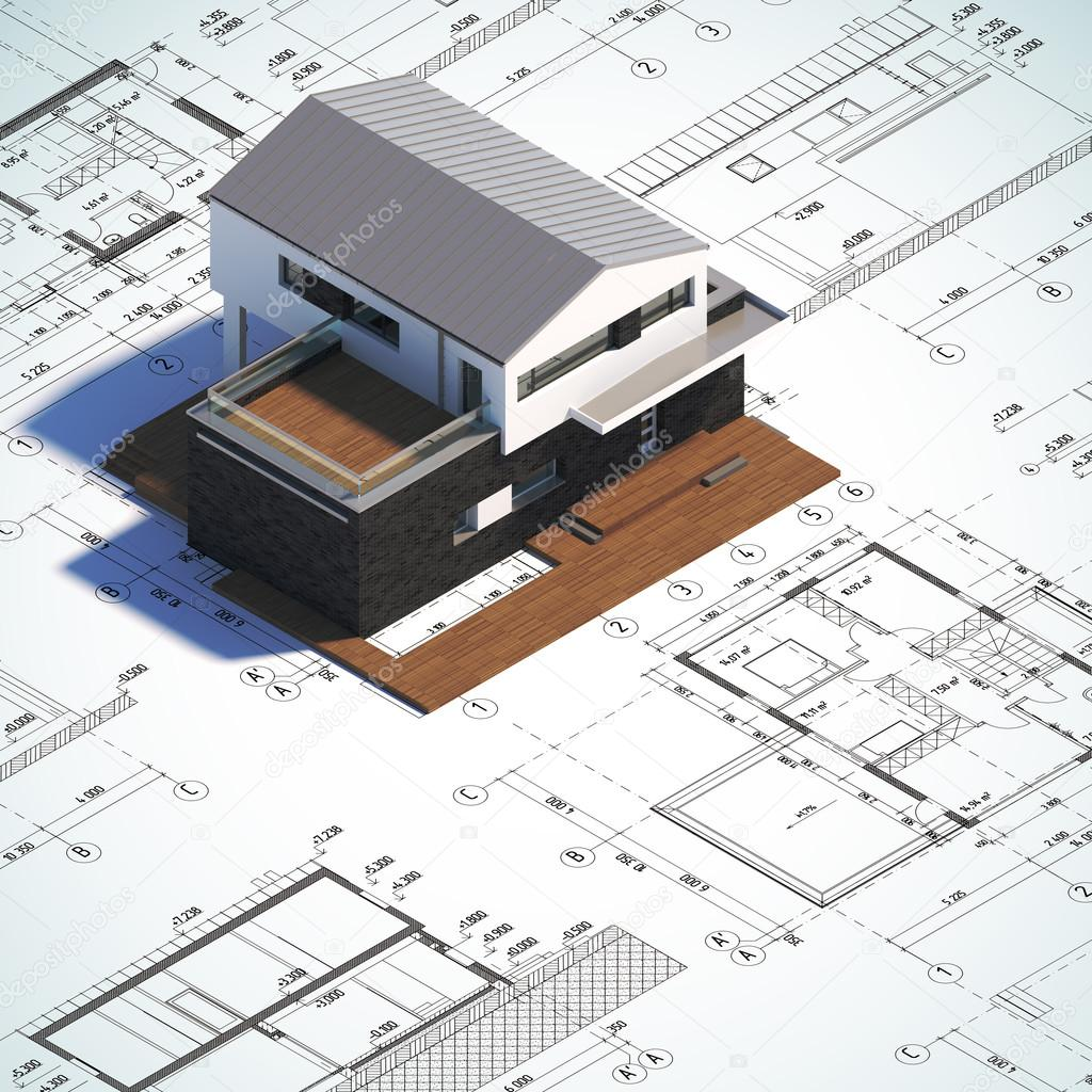 Drawing And Layout Modern Minimalist House Stock Photo Nav