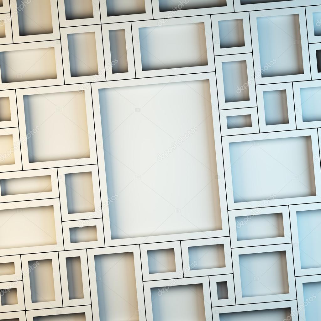 Wall of empty white frames. — Stock Photo © _nav_ #86703372