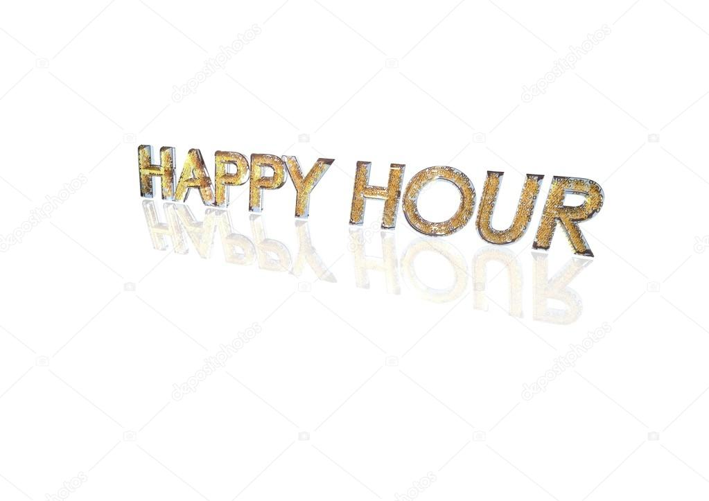 Word Happy Hour Made From Percentage Symbols Stock Photo
